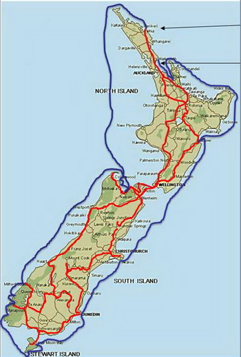 New Zealand Route Map.New Zealand Circumnavigation